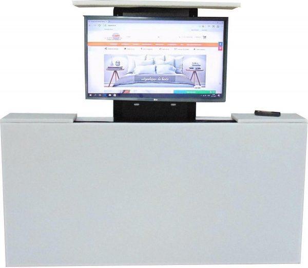 Los voetbord met TV lift - XL: TV's t/m 50 inch - 160 cm breed - Wit Kunstleer