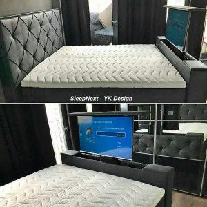 "Luxe Boxspring YK Design + TV Lift 32""inch Graphite - 180x200cm"