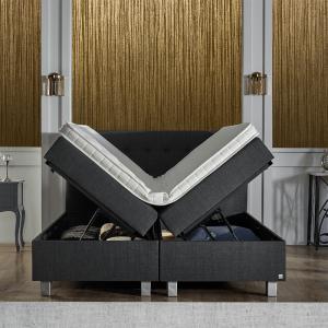 Pocketveren Boxspring Met Opbergruimte - Home Storage 180 x 200 cm, Topperkeuze: Upgrade: Luxe Traagschuim Topper (+€200), Montage: Exclusief Montage, Accessoire: Inclusief 1 Nachtkast (+€149,99)