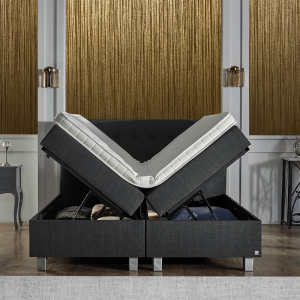 Pocketveren Boxspring Met Opbergruimte - Home Storage 180 x 200 cm, Topperkeuze: Upgrade: Luxe Traagschuim Topper (+€200), Montage: Inclusief Montage, Accessoire: Inclusief 1 Nachtkast (+€149,99)