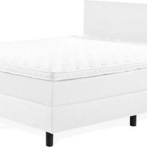 Boxspring Praag 2.0 - 160x210 cm - Compleet met matrassen en topmatras - Kleur: kunstleer wit