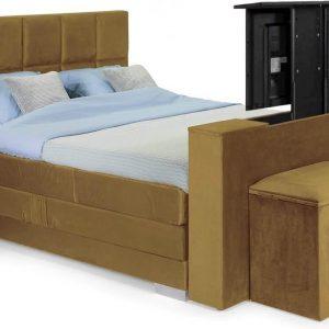 Boxspring Super relax 140x220 Compleet Elektrische verstelbaar kleu : Goud