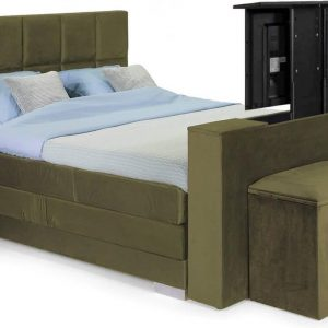 Boxspring Super relax 160x220 Compleet Elektrische verstelbaar kleu : Groen