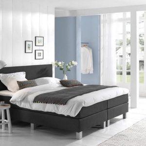 Complete Boxspring 120x210 cm - Kunstleer Zwart - Pocketvering matrassen - Dreamhouse Louis - Twijfelaar