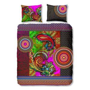 Dekbedovertrek Jaipur - 1-persoons (140 x 220 cm + 1 kussensloop) - Katoensatijn - Paars | Meerkleurig | Multi | Multicolor - HIP