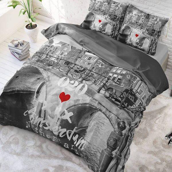 DreamHouse Bedding Amsterdam 020 - Antraciet Lits-jumeaux (240 x 220 cm + 2 kussenslopen)