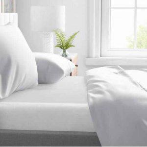 Droomtextiel Deluxe Satijnen - Hoeslaken - 90 x 220 - Wit - Hoogwaardige Kwaliteit - Super Zacht -