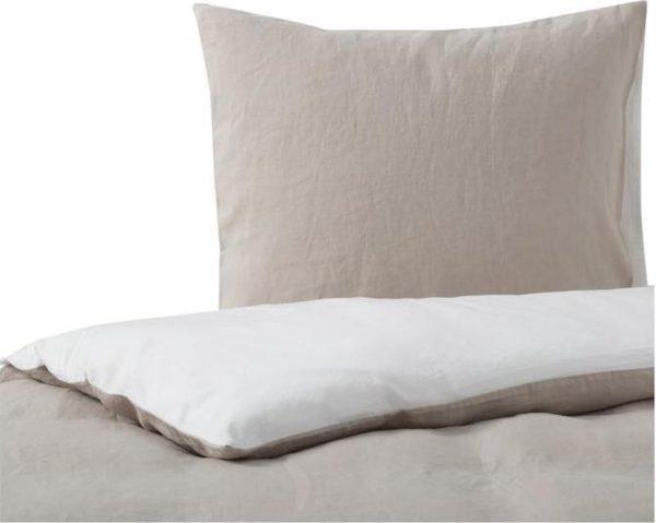 Passion for Linen Luxe dekbedovertrek Belle Linnen en katoensatijn, 240 x 220 cm, wit / zand