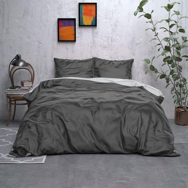 Sleeptime Elegance Double Face Beauty - Antraciet/Grijs Lits-jumeaux (240 x 220 cm + 2 kussenslopen) Dekbedovertrek