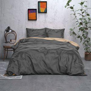 Sleeptime Elegance Double Face Beauty - Antraciet/Taupe Lits-jumeaux (240 x 220 cm + 2 kussenslopen) Dekbedovertrek