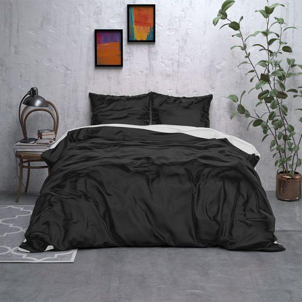 Sleeptime Elegance Double Face Beauty - Zwart/Wit Lits-jumeaux (240 x 220 cm + 2 kussenslopen) Dekbedovertrek