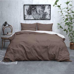 Sleeptime Elegance Dubbel Face - Flanel - Taupe/Wit Lits-jumeaux (240 x 220 cm + 2 kussenslopen) Dekbedovertrek