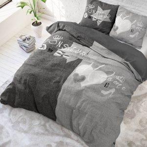 Sleeptime Elegance Monsieur et Madame - Grijs Lits-jumeaux (240 x 220 cm + 2 kussenslopen) Dekbedovertrek