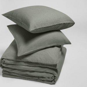 Yumeko Overtrekset gewassen linnen stone groen 240x220 + 2/60x70