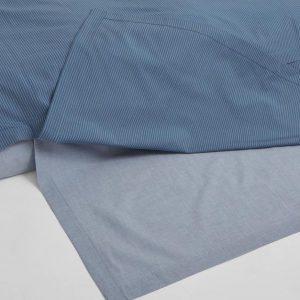 Yumeko Overtrekset katoen Tencel™ dubbelzijdig blauw met streepjes / blauw chambray 240x220 + 2/60x70