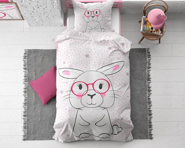 1-persoons meisjes dekbedovertrek wit met roze stippen en sterren en groot lief konijn/ haasje met roze bril KATOEN 140 x 220 cm