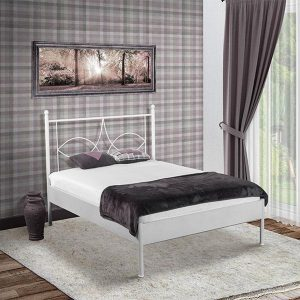 Bed Box Holland - Metalen bed Sun - zilver - 90x200 - met bodem en matras