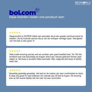 Bedworld Boxspring 140x200 zonder Matras - 2 Persoons Bed - Massieve Box met Luxe Hoofbord - Zwart