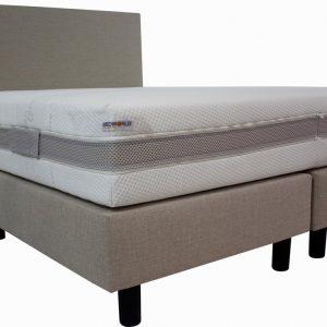 Bedworld Boxspring 160x220 cm met Matras - Luxe Hoofdbord - Gestoffeerd - Gemiddeld Ligcomfort - Creme