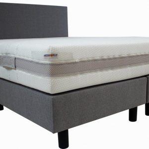 Bedworld Boxspring 160x220 cm met Matras - Luxe Hoofdbord - Gestoffeerd - Gemiddeld Ligcomfort - Grijs