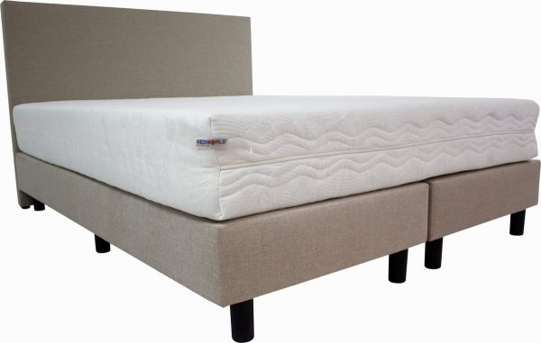 Bedworld Boxspring 160x220 cm met Matras - Luxe Hoofdbord - Gestoffeerd - Medium Ligcomfort - Creme