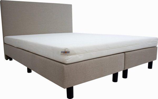 Bedworld Boxspring 160x220 cm met Matras - Luxe Hoofdbord - Gestoffeerd - Stevig Ligcomfort - Creme