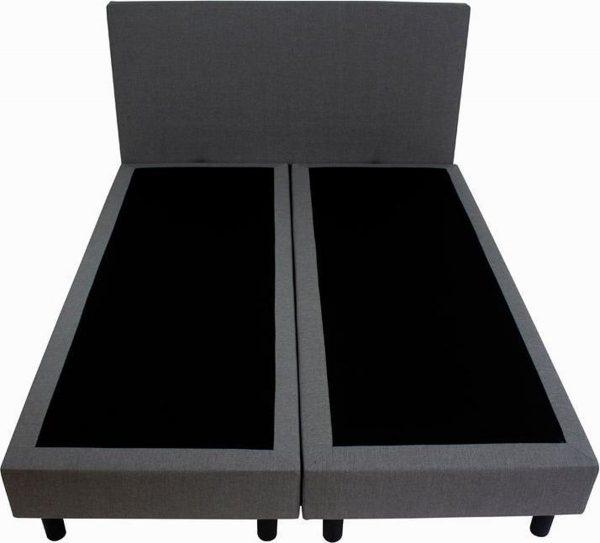 Bedworld Boxspring 160x220 zonder Matras - 2 Persoons Bed - Massieve Box met Luxe Hoofdbord - Grijs