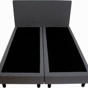 Bedworld Boxspring 180x200 cm zonder Matras - 2 Persoons Bed - Massieve Box met Luxe Hoofdbord - Grijs