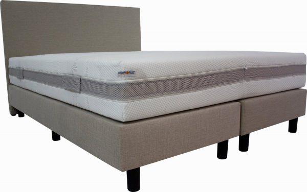 Bedworld Boxspring 180x210 cm met Matras - Luxe Hoofdbord - Gestoffeerd - Pocketvering Matras - Creme