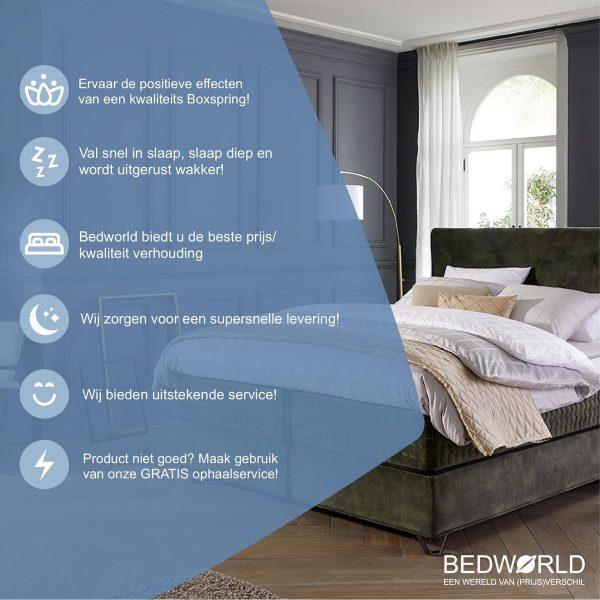 Bedworld Boxspring 180x210 cm zonder Matras - 2 Persoons Bed - Massieve Box met Luxe Hoofdbord - Creme