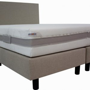 Bedworld Boxspring 200x210 cm met Matras - Luxe Hoofdbord - Gestoffeerd - Micropocketvering - Creme