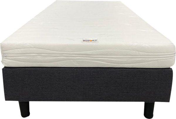 Bedworld Boxspring 70x200 cm met Matras - Pocketvering Matras - Gestoffeerd - Massief - Antraciet