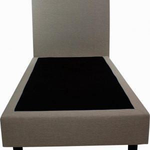 Bedworld Boxspring 80x220 cm zonder Matras - 1 Persoons Bed - Massief Gestoffeerde Box - Creme