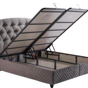 Bedworld Boxspring met Opbergruimte 160x200 cm - Bed met Opbergruimte - Met Matras - Grijs - Hadise