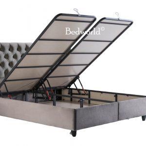 Bedworld Boxspring met Opbergruimte 160x200 cm - Bed met Opbergruimte - Met Matras - Grijs - Rixos