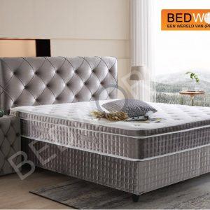 Bedworld Boxspring met Opbergruimte 180x200 cm - Bed met Opbergruimte - Met Pocketvering Matras - Grijs