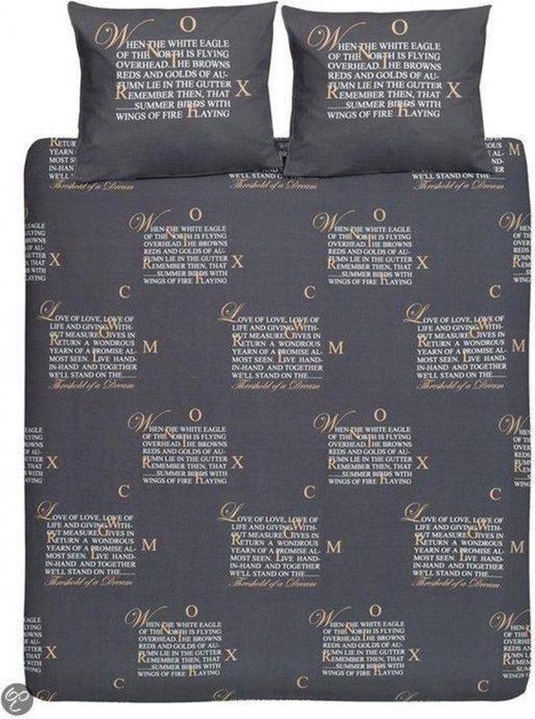 Cinderella Dekbedovertrekset Cinderella - Lyrics - antraciet - 1-persoons (140 x 200/220 cm. + 1 sloop)