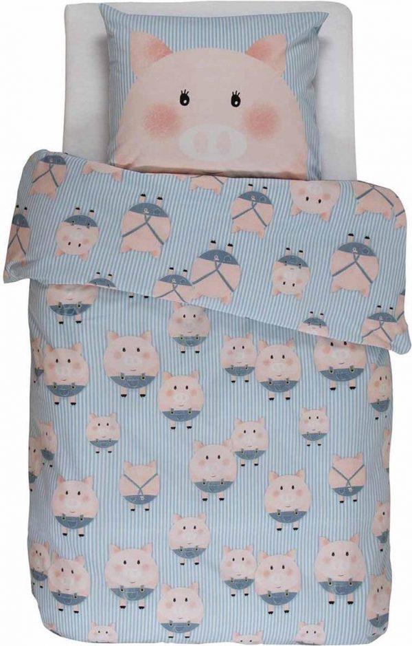 Covers & Co Piggy - Dekbedovertrek - Eenpersoons - 140 x 220 - Blue