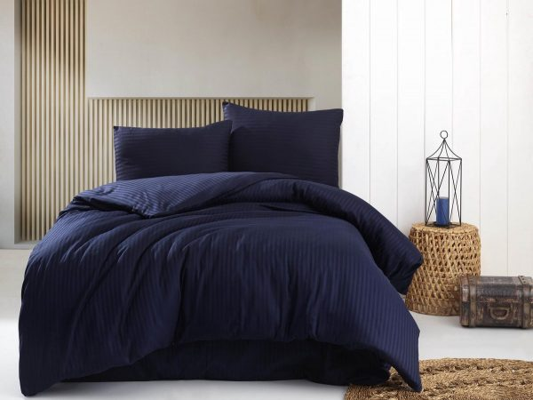Deco Milano, Dekbedovertrek, Donker Blauw, hoog kwaliteit 100% Katoensatijn, 140 X 220 1x kussenslopen