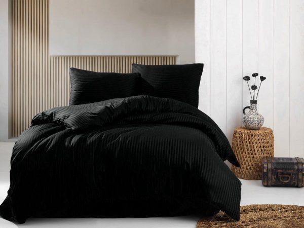 Deco Milano, Dekbedovertrek, Zwart, hoog kwaliteit 100% Katoensatijn, 140 X 220 1x kussenslopen, gestreept satijnstof.