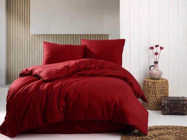 Deco Milano, Dekbedovertrek donker rood, hoog kwaliteit 100% Katoensatijn, 140 X 220 1X kussenslopen, gestreept satijnstof.