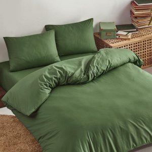 Deco Milano, Dekbedovertrek , hoog kwaliteit 100% Katoensatijn, Donker Groen, 140 x 220 1X kussenslopen