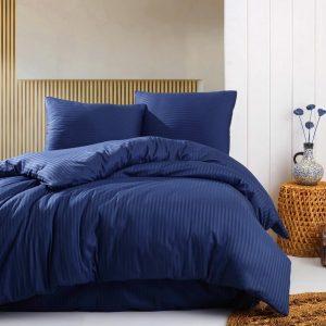 Deco Milano, Dekbedovertrek , hoog kwaliteit 100% Katoensatijn, NIGHT BLUE 140 x 220 1X kussenslopen, gestreept satijnstof.