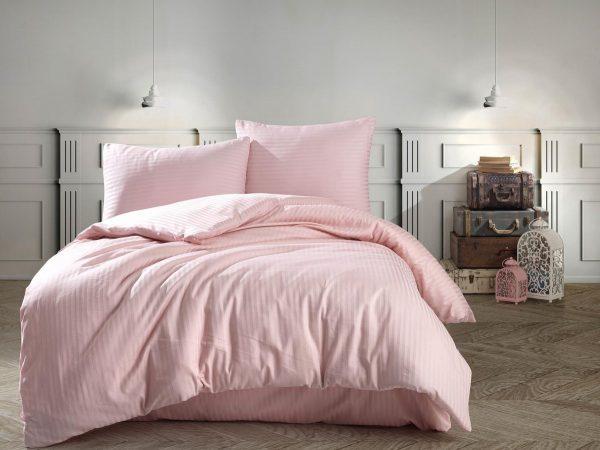 Deco Milano, Dekbedovertrek , hoog kwaliteit ,100% Katoensatijn, Oud Roze, 140 x 220 1x kussenslopen, gestreept satijnstof.