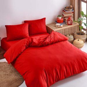 Deco Milano, Dekbedovertrek , hoog kwaliteit 100% Katoensatijn, Rood, 140 x 220 1X kussenslopen