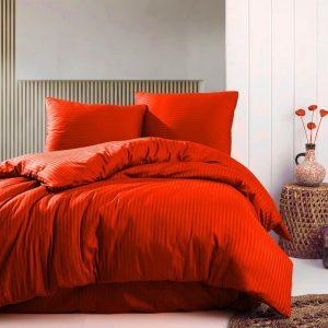 Deco Milano, Dekbedovertrek , hoog kwaliteit 100% Katoensatijn, Rood 140 x 220 1xkussenslopen, gestreept satijnstof.