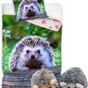 Dekbedovertrek Egel met 2 egel knuffels 10 cm- slaapkamer dekbed, 140 x 200 cm, met pluche knuffel hedgehog speelgoed.