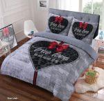 Dekbedovertrek -True Love Strik-Grijs- Eenpersoons -140 x 220-cm + 1 kussensloop 60x70cm