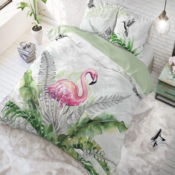 DreamHouse Bedding Flamingo Splash - White Lits-jumeaux (240 x 220 cm + 2 kussenslopen)
