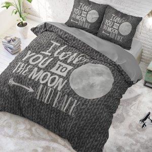 DreamHouse Bedding Moon and Back Antraciet Lits-jumeaux (240 x 220 cm + 2 kussenslopen)